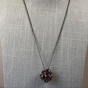 Cookie lee red beaded ball necklace gunmetal